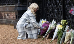 Residents and visitors lay flowers at Sandringham House in Norfolk.