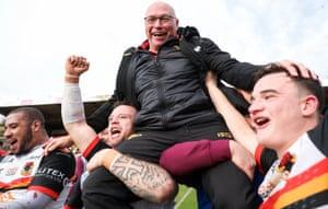 Bradford head coach John Kear celebrates winning promotion to the Championship