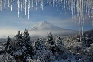 Japan's Mount Fuji, in a photo taken at dawn in winter.  This view of Mount Fuji, in Japan, was taken by Mary-Anne Bartlett of painting holiday firm Art Safari. Fuji is one of three sacred mountains in Japan, and at 3,776 metres it is the tallest. It is about 100km south-west of Tokyo and visible from the capital on a clear day. 'I was up before dawn, keen not to miss any magical glimpse of Fuji that I could use in my paintings,' said Mary-Anne, who was leading a painting holiday. 'Minutes after it was shrouded in mist again.' • artsafari.co.uk