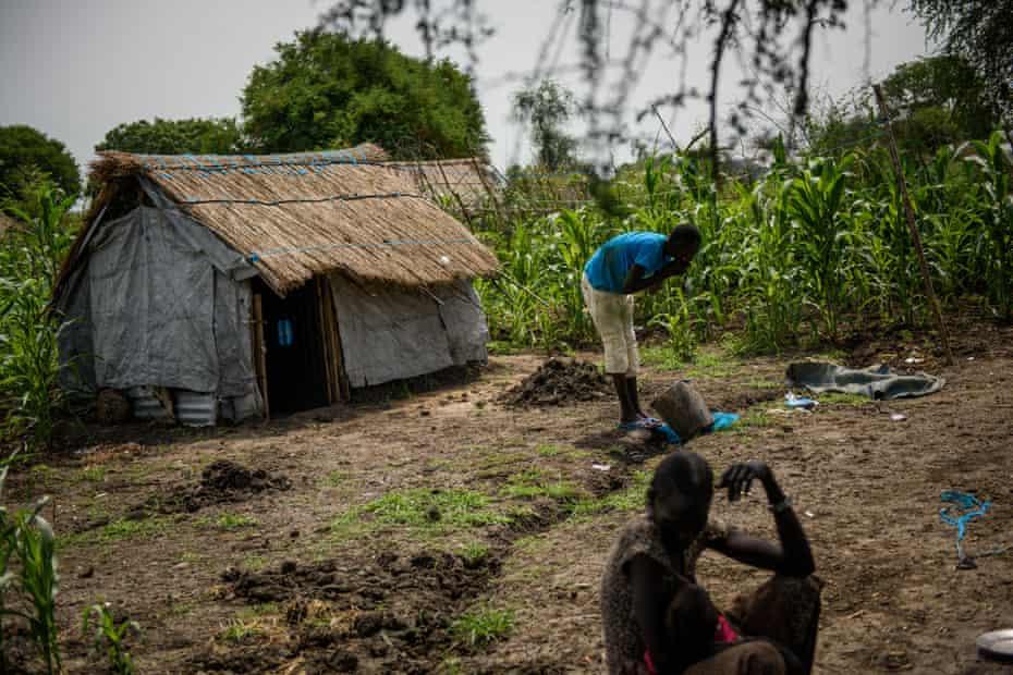 Yangde washes at home in Pibor, South Sudan.