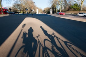 Cyclists in London during the lockdown