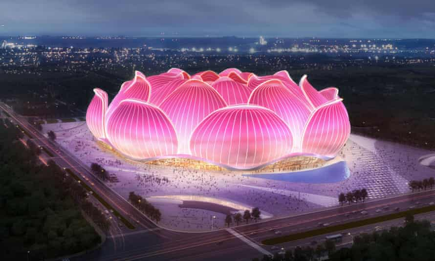 The enormous football stadium designed to look like a lotus flower in Guangzhou.