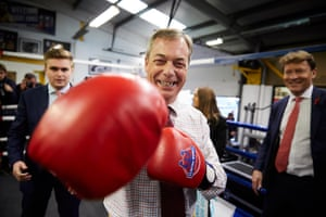 Nigel Farage, the Brexit party leader, campaigning at Bolsover Boxing Club in Chesterfield this morning.