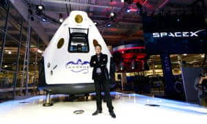 SpaceX's CEO, Elon Musk, unveils the company's Dragon V2 spacecraft, designed to carry astronauts into space on 29 May 2014. It has yet to carry humans into space.