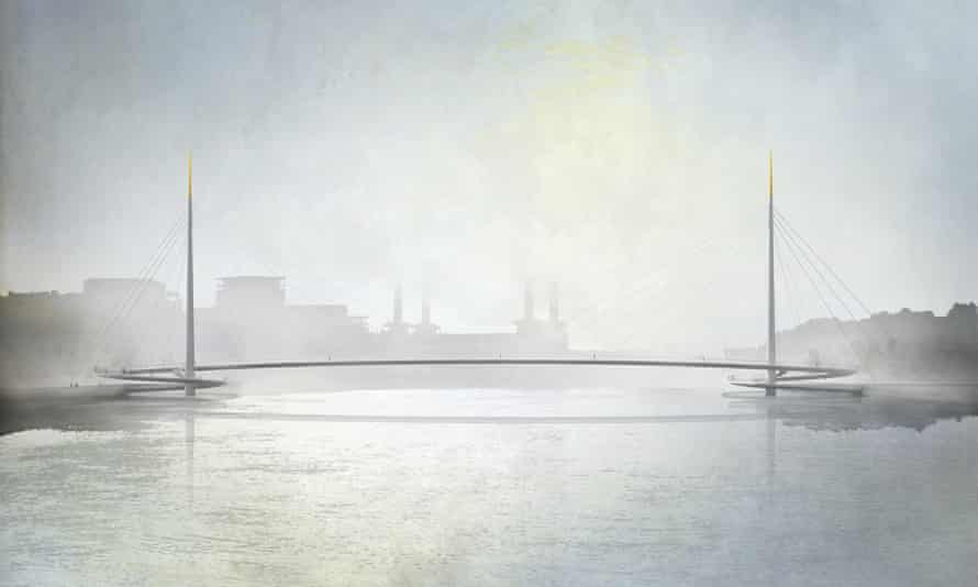Gilded chopsticks … the winning design by Bystrup architects for a new Nine Elms bridge is a model of elegance.