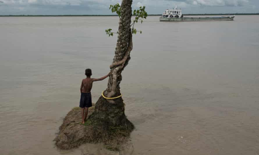 Ghoramara Island in the Bay of Bengal, India, is quickly disappearing due to erosion and rise in sea level.