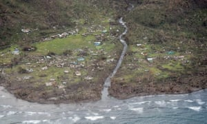 Damage in the village of Namacu on the main Fiji island of Viti Levu after the most powerful cyclone in Fiji's history battered the Pacific island nation.