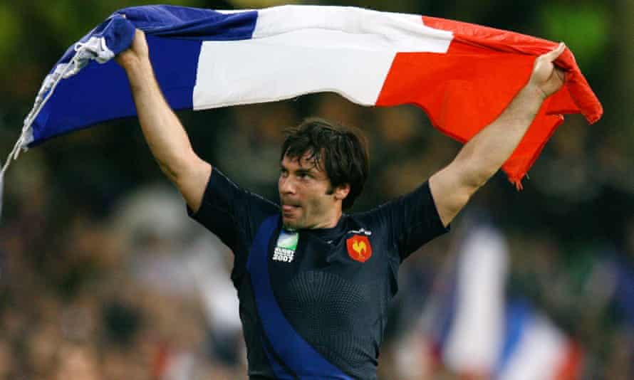 Christophe Dominici celebrates after the quarter-final Rugby World Cup match against New Zealand in 2007.