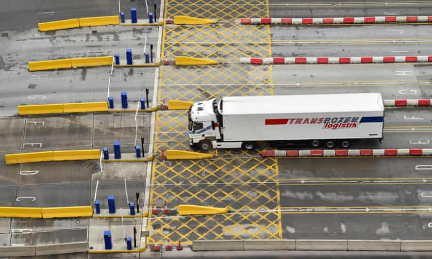 A lorry arriving at the port of Dover, in southern England.