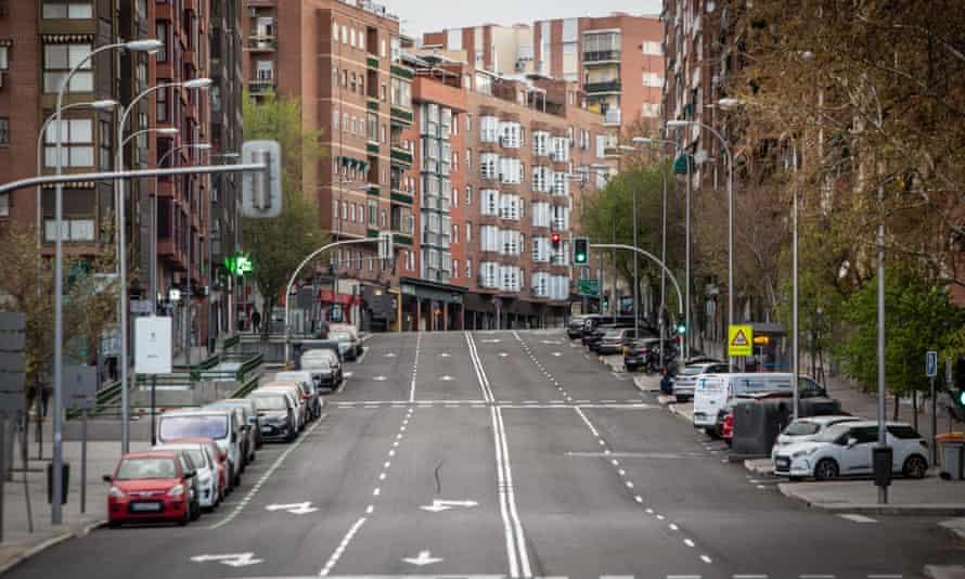 An empty street in Madrid, Spain, last March.