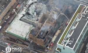 Aerial view of the damage caused to the Mackintosh building and surrounding area.