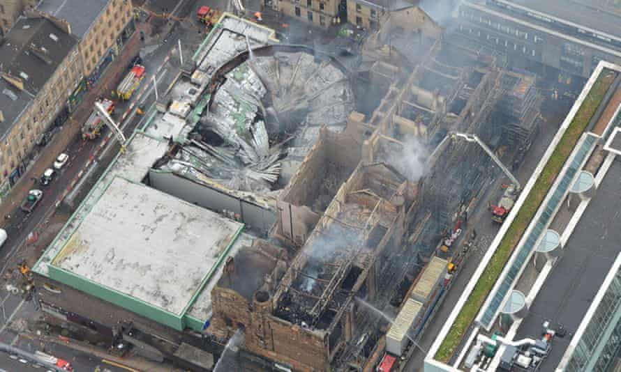 An aerial view of the damage caused to the Mackintosh Building in Glasgow.