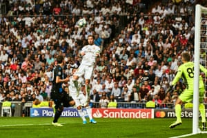 Sergio Ramos rose high to score Real Madrid's first goal, which was awarded after another VAR review.