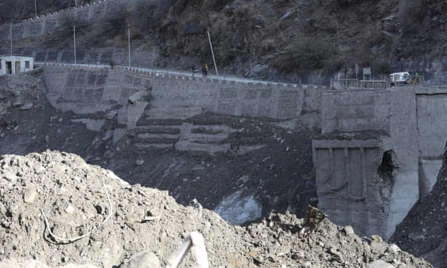A damaged bridge after a glacier burst and flood near the Dhauliganga hydropower project in Chamoli district, Uttarakhand.