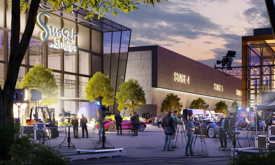 Artist's impression of proposed £700m Sunset Studios which could be built in Leavesden, Hertfordshire, create more than 4,500 jobs.