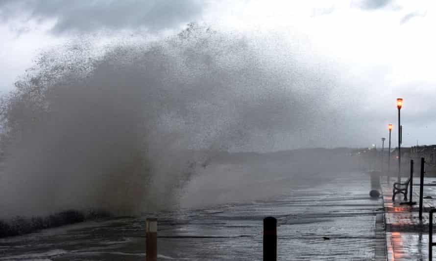 Waves crash onto the shore in Prestwick