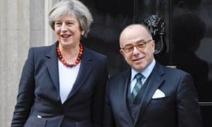 Theresa May and Bernard Cazeneuve outside No 10 on Friday.