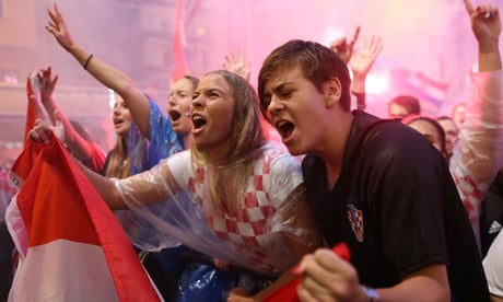 Fans in Zagreb celebrate Ivan Perisic's goal for Croatia against England – video