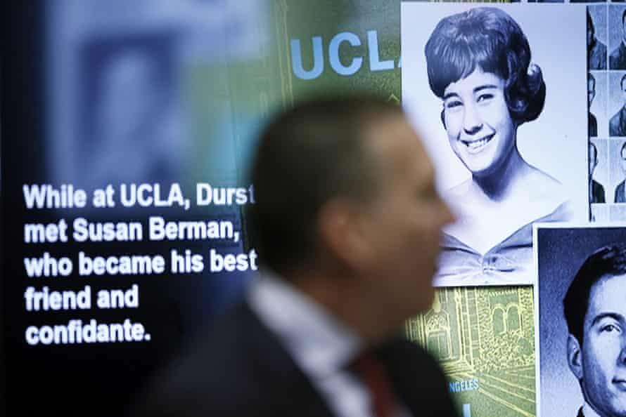 A photo displayed of Susan Berman, presented during opening arguments in the trial.