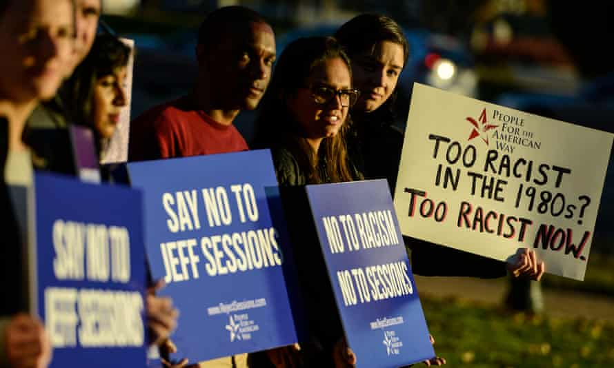 Activists call on the Senate to reject Jeff Sessions as attorney general. The senator is to face the first confirmation hearing for Donald Trump's administration.