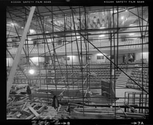 A view through the scaffolding on the Concert Hall stage (Nov 1979)