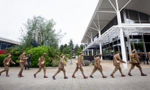 Soldiers walk through Milton Keynes as part of a 2016 artwork by Jeremy Deller and Rufus Norris commemorating the Battle of the Somme.
