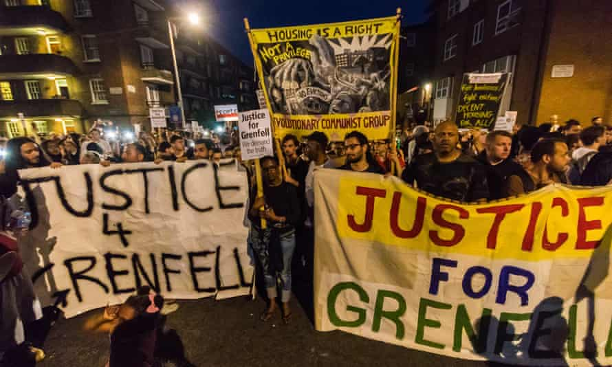 Local residents and supporters near Grenfell Tower.