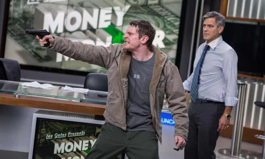 One of the little people ... Jack O'Connell, left, and George Clooney in Money Monster.