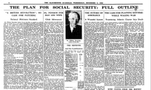 Manchester Guardian 2 December 1942 page 6, analysis of Beveridge Report