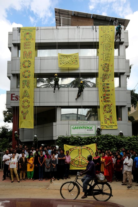 A Greenpeace demonstaration in Bangalore<br>earlier this year.