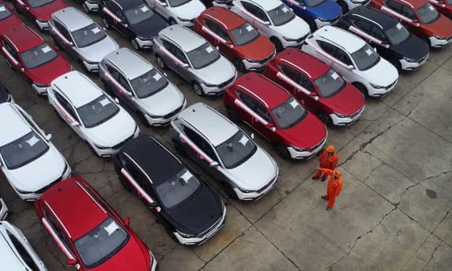 MG cars on a dockside in Lianyungang, Jiangsu province, China