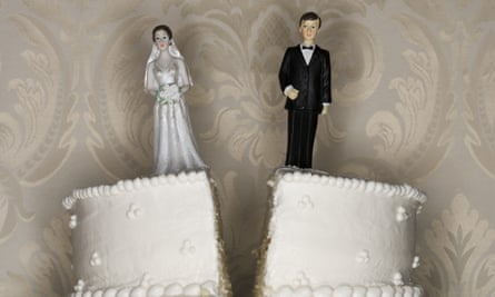 A wedding cake split in two