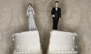 A wedding cake split in half
