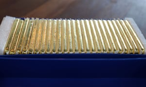 1kg gold bars are displayed during a media tour at Le Freeport, a private, maximum-security vault in Singapore.