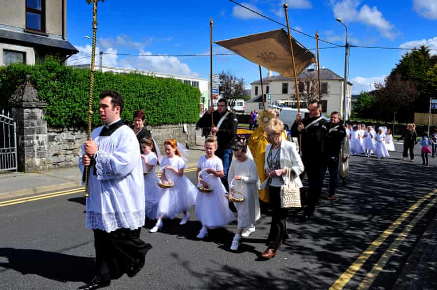 A procession through Buncrana in County Donegal, Ireland on the feast of Corpus Christi. The archdiocese of Dublin commissioned research showing attendance at mass is to fall by a third by 2030.