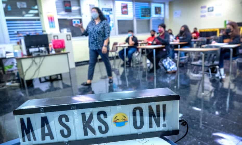 Students attend classes during the first day of school at Barbara Goleman senior high school in Miami Lakes, Florida, this week.