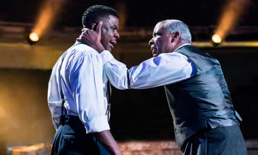 Ashley Zhangazha and Don Warrington in Death of a Salesman at Manchester's Royal Exchange, directed by Sarah Frankcom.