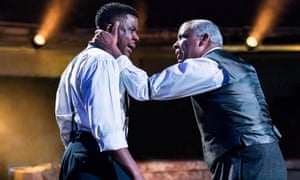 Ashley Zhangazha (Biff) with Don Warrington (Willy) in Sarah Frankcom's 2018 production at the Royal Exchange in Manchester.