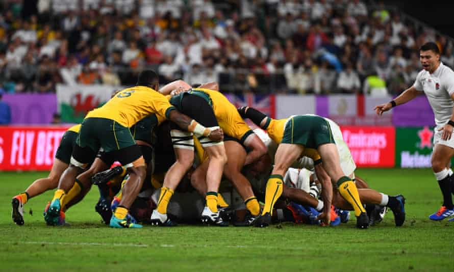 Wallabies players in a scrum