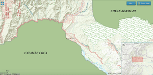 Map from the Ministry of Mines's website showing the concessions - marked in red - upstream from Sinangoe - not marked - along the River Aguarico and tributaries. The concessions now run around the entire north-eastern rim of the Cayambe Coca National Park.