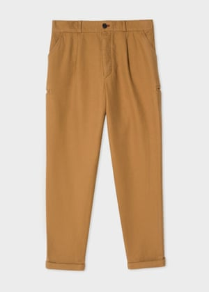 Workwear pleated tan chinos with jetted pockets £175 paulsmith.com