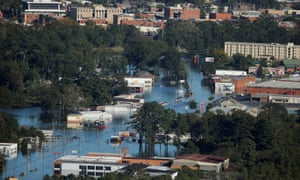 An aerial view shows floodwaters after Hurricane Matthew in Lumberton.