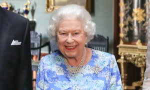 The Queen at Windsor Castle, during the visit of Belgium's King Philippe and Queen Mathilde. She is wearing the snowflake brooch, a gift from Canada.