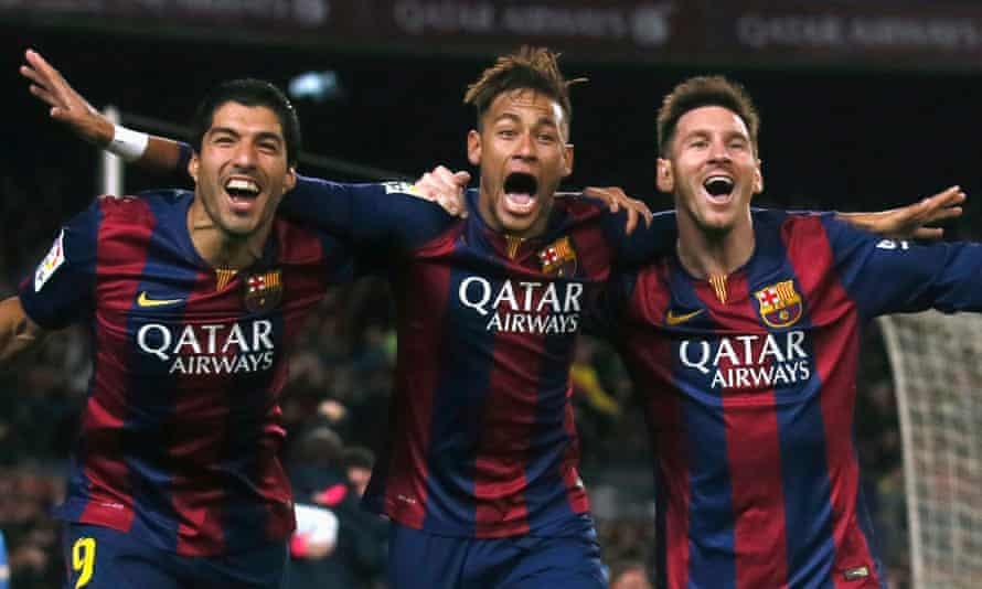 Barcelona's Luis Suarez, Neymar and Lionel Messi celebrate a goal against Atletico Madrid