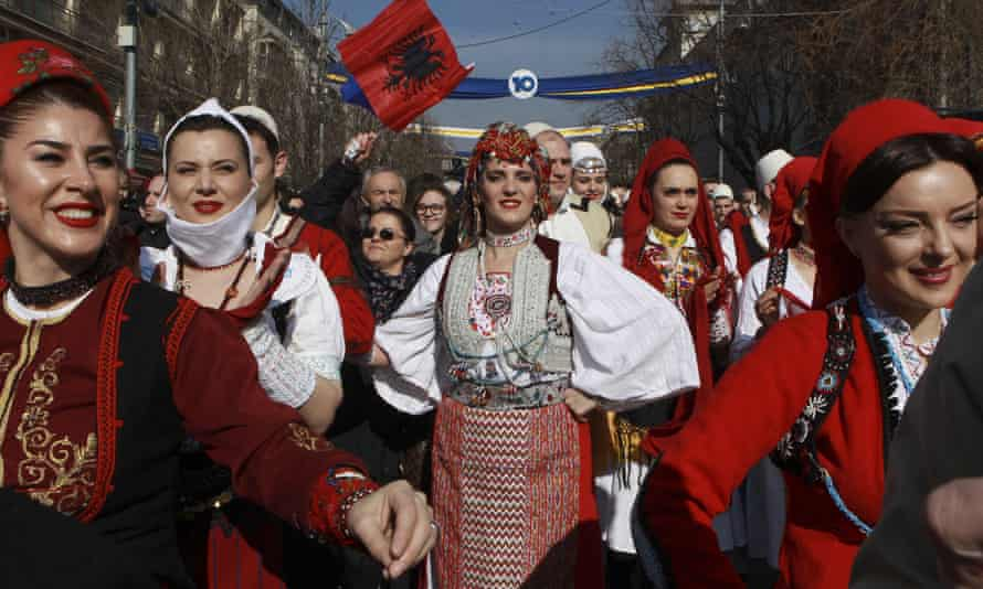 Dancers mark the 10th anniversary of Kosovo's independence in Pristina in February.