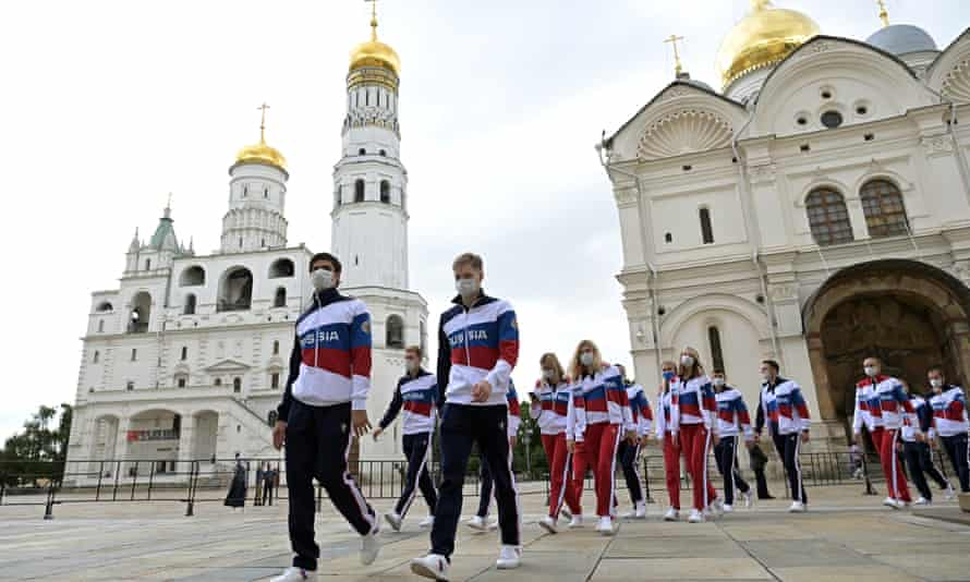 Members of Russian Olympic team – which will be known as the ROC team in Tokyo – after a meeting with Vladimir Putin before leaving for the Games.