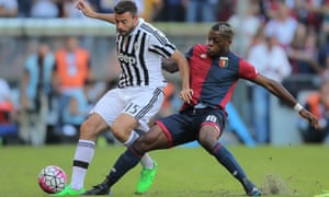 Olivier Ntcham, right, challenges Andrea Barzagli of Juventus during Sunday's Serie A defeat to the champions.