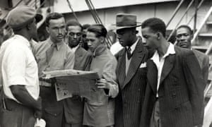 Windrush arrivals from Jamaica in 1948 after disembarking at Tilbury