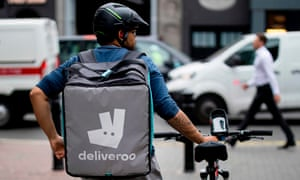 A Deliveroo courier in central London