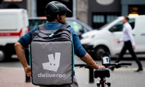 A Deliveroo food courier in central London.